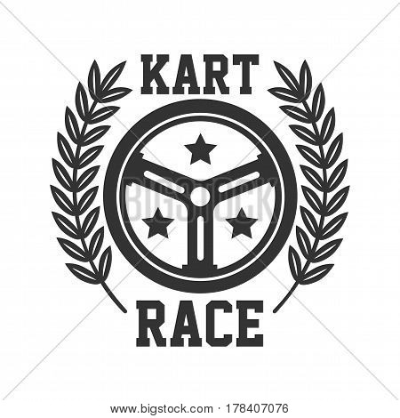 Kart race logotype with steering wheel and bay leaves around isolated on white. Badge of tournament or competition for fast motion activity using speedy vehicles. Karting driving vector template