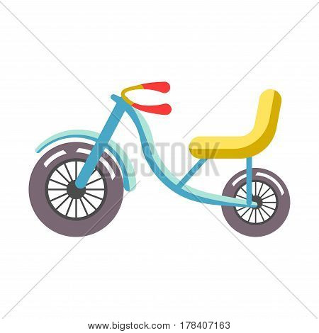 Blue children bicycle with yellow seat isolated on white. Big and small dark wheels, bike rudder with red handles. Vector illustration of transportation vehicle for children in cartoon style