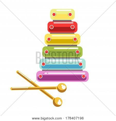 Toy colorful and shiny xylophone with wands isolated on white background. Developing kids musical toy vector illustration. Instrument to evolve and train children skills of musicality in flat design