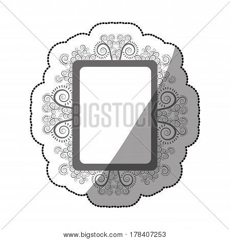 sticker gray scale square vintage baroque frame vector illustration