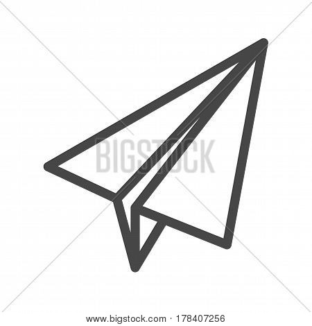 Paper Airplane Thin Line Vector Icon. Flat icon isolated on the white background. Editable EPS file. Vector illustration.