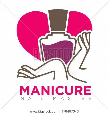 Manicure logotype with female hands holding dark violet nail polish tin on pink heart-shaped background. Vector colorful illustration in flat design of woman body care label isolated on white
