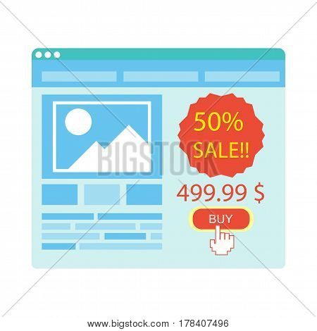 Buy button on blue web site purchase with 50 percent sale on white. Index finger points at red button. Good price for goods or service. Vector illustration of online payment in cartoon style.