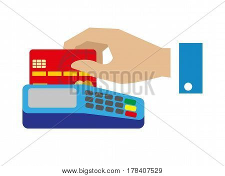Cash free payment with bank credit unit vector illustration. Human hand pay with red plastic card in terminal isolated on white background. Convenient device to make purchases in flat cartoon design