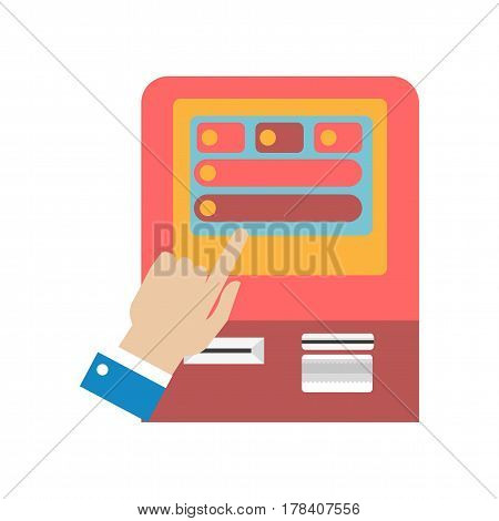 Human hand using ATM machine concept colorful vector illustration. Close up picture of male finger touching screen of cash dispenser or entering pin code. Automated banking device usage template