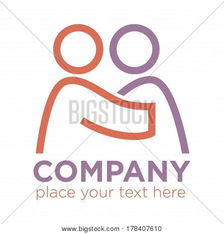 Charity or business insurance company label logo with space to place your text. Emblem of two people that stretch hands to each other outline isolated on white. Symbol of trust vector illustration.