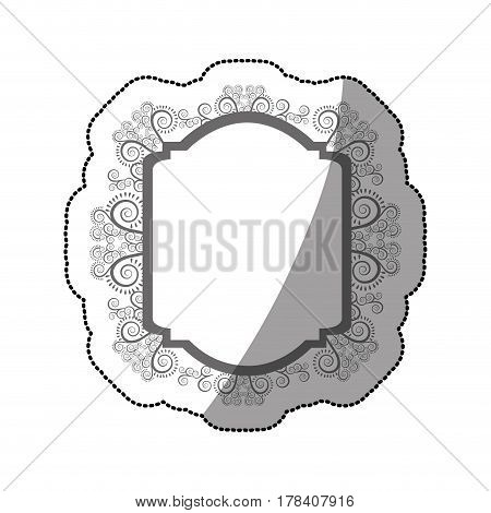 sticker gray scale curved rectangle heraldic baroque frame vector illustration