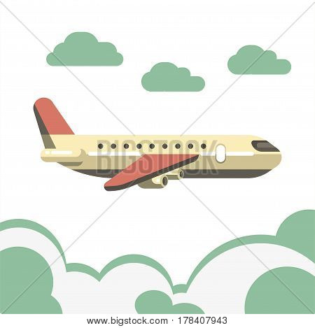 Passenger beige airplane with pink tail and isolated over azure clouds on white. Vector colorful illustration of fast mean of transportation by air for carrying people. Aircraft high in sky.