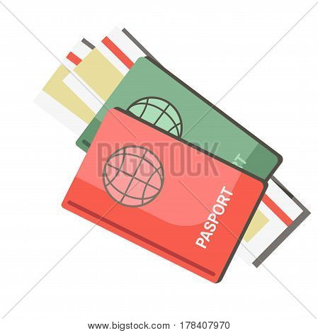 International passports with tickets isolated on white background. Identification papers for travel abroad on vacations vector illustration. Documents for journey to foreign countries in flat design