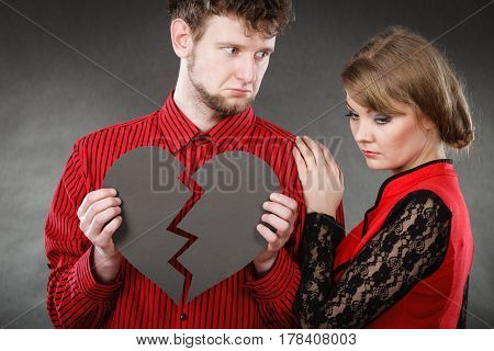 Sad Couple With Broken Heart.