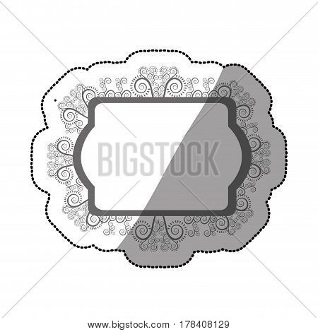 sticker gray scale oval rectangle heraldic baroque frame vector illustration