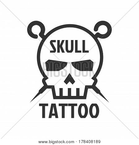 Human skull tattoo sign logotype isolated on white. Symbol of death, man or woman head hard bone with crossed sharp curved elements on background. Tattooing sign template vector illustration