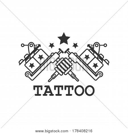 Tattoo salon black and white label with two crossed mechanic ink machines and stars isolated on white background. Advertising poster with minimalistic logotype design vector illustration.