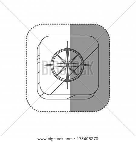 sticker square silhouette button with compass rose vector illustration