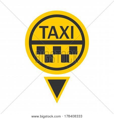 Taxi logotype in round shape and small triangular below isolated on white. Vector illustration in flat design of delivery passengers service in yellow and black colors. Taxiing colorful template badge