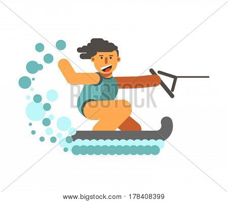 Young human on water skiing holding black halyard on white background with water drops. Enthusiastic sportsman in blue swimsuit rides on aqua. Vector illustration in flat design cartoon style.