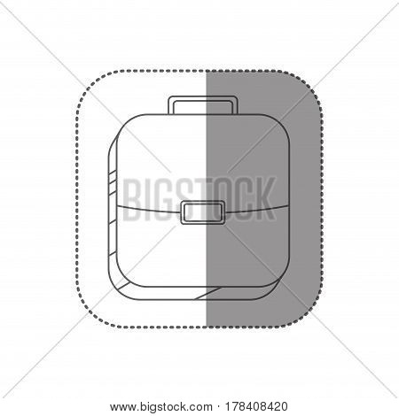 sticker square silhouette button with briefcase vector illustration