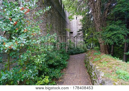 Alley Path Along Fortified Stone Wall