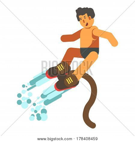 Male person rising up on brown flyboard from water. Vector illustration in flat design on new extremal aqua kind of sport using modern equipment attached to human legs and with flexible pipe.