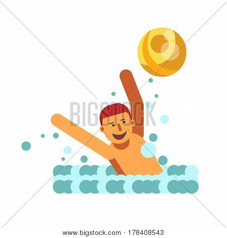 Young male person playing with yellow ball in water. Boy full of energy spends his time actively in river vector illustration in flat design. Smiling child raises his hands to catch round element