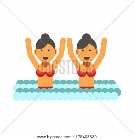 Female twins in identical red separate swimsuits and standing waste-deep in water with raised hands. Vector colorful illustration in flat design of two sisters entertaining outdoors in summer time