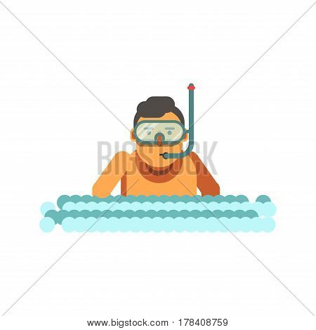 Young boy with underwater mask and tube in river waves isolated on white background. Swimmer character in blue diving equipment. Vector illustration in cartoon style of male dive in sea or ocean