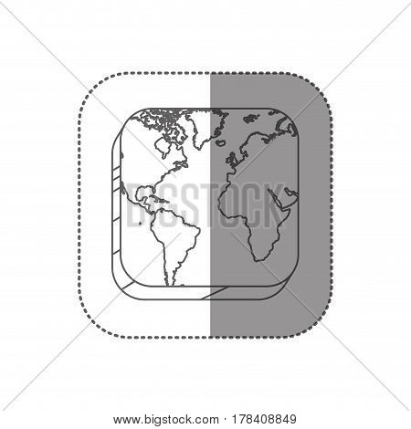 sticker square silhouette button with contour map continents vector illustration