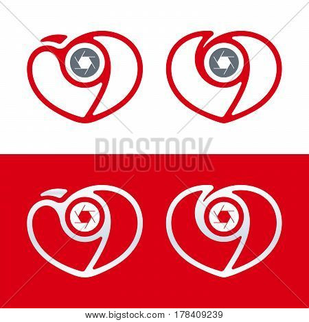 Heart and shutter shaped minimal photography logo design with love theme. Vector illustration icon templates.