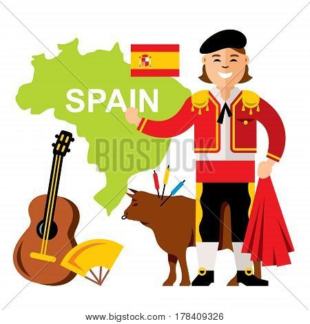 Matador, bull, guitar, fan, map, flag. Isolated on a white background