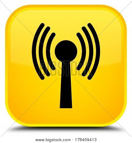 Wlan Network Icon Special Yellow Square Button