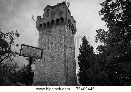 Black And White Shot Of The Montale Tower. San Marino