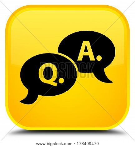 Question Answer Bubble Icon Special Yellow Square Button