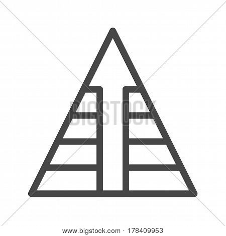 Pyramid with Arrow Thin Line Vector Icon. Flat icon isolated on the white background. Editable EPS file. Vector illustration.