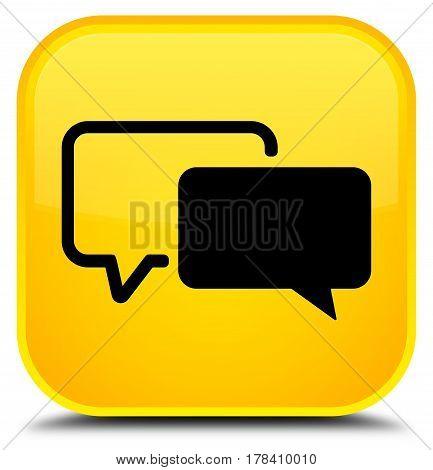 Testimonials Icon Special Yellow Square Button