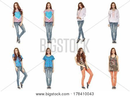 Beautiful Posing Young Twins Posing In Jeans Isolated On White