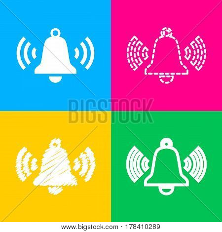 Ringing bell icon. Four styles of icon on four color squares.