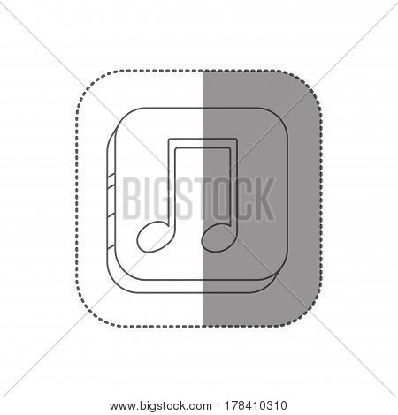 sticker square silhouette button with contour musical note vector illustration