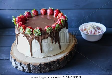 Delicious cake with fresh strawberry and dark chocolate sauce and plate with marshmallows