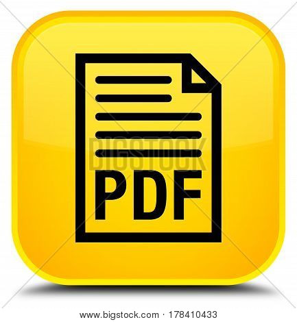 Pdf Document Icon Special Yellow Square Button