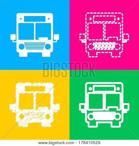 Bus sign illustration. Four styles of icon on four color squares.