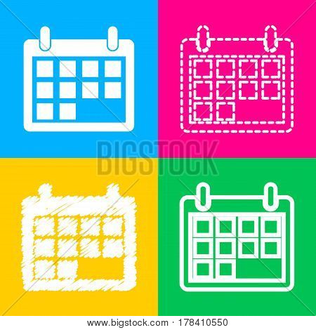 Calendar sign illustration. Four styles of icon on four color squares.