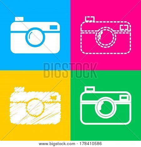 Digital photo camera sign. Four styles of icon on four color squares.