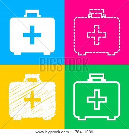 Medical First aid box sign. Four styles of icon on four color squares.