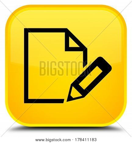 Edit Document Icon Special Yellow Square Button