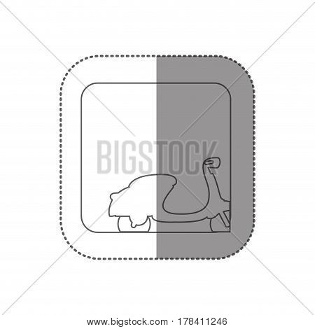 sticker square silhouette button with contour classic scooter vector illustration