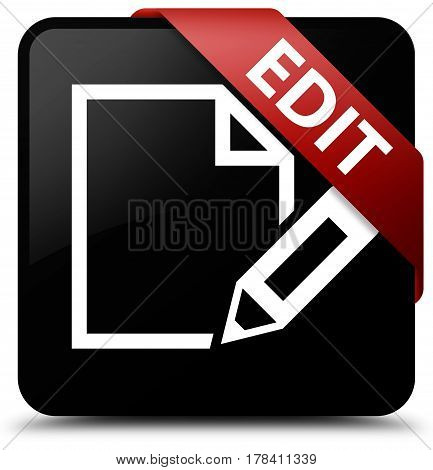 Edit Black Square Button Red Ribbon In Corner