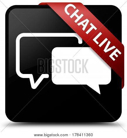 Chat Live Black Square Button Red Ribbon In Corner