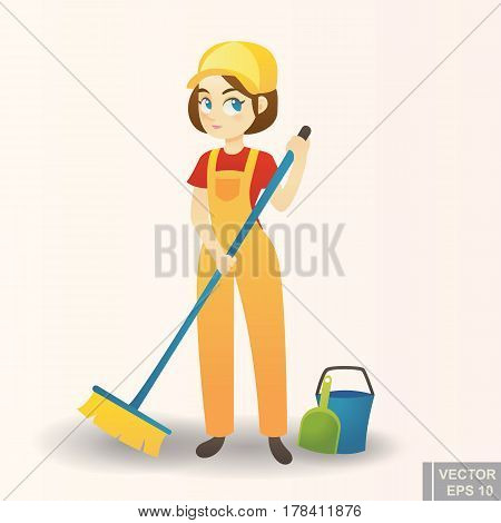 Illustration Of A Cute Cartoon Girl Providing Housecleaning Service
