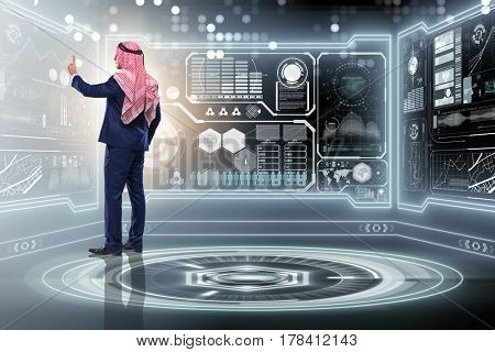 Arab man in data management concept