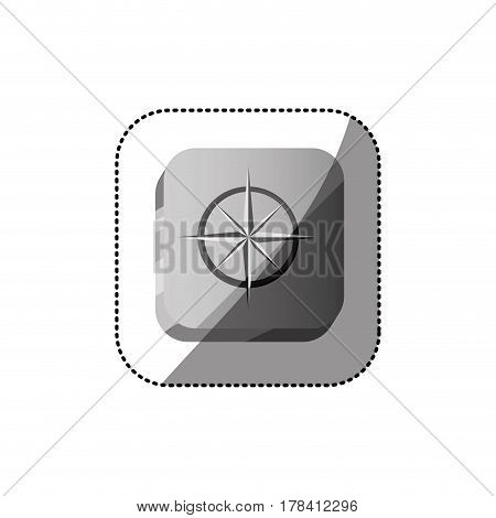 sticker color square button 3d with compass rose vector illustration
